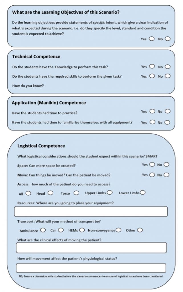 prehospital simulation scenario template