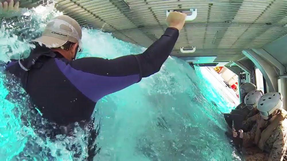 marines helicopter underwater crash simulator