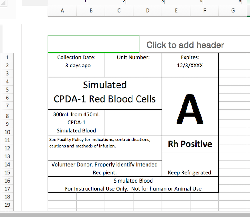 Blood Transfusion Documents And Excel Labels For Simulation In